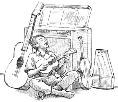 Pete plays ukulele